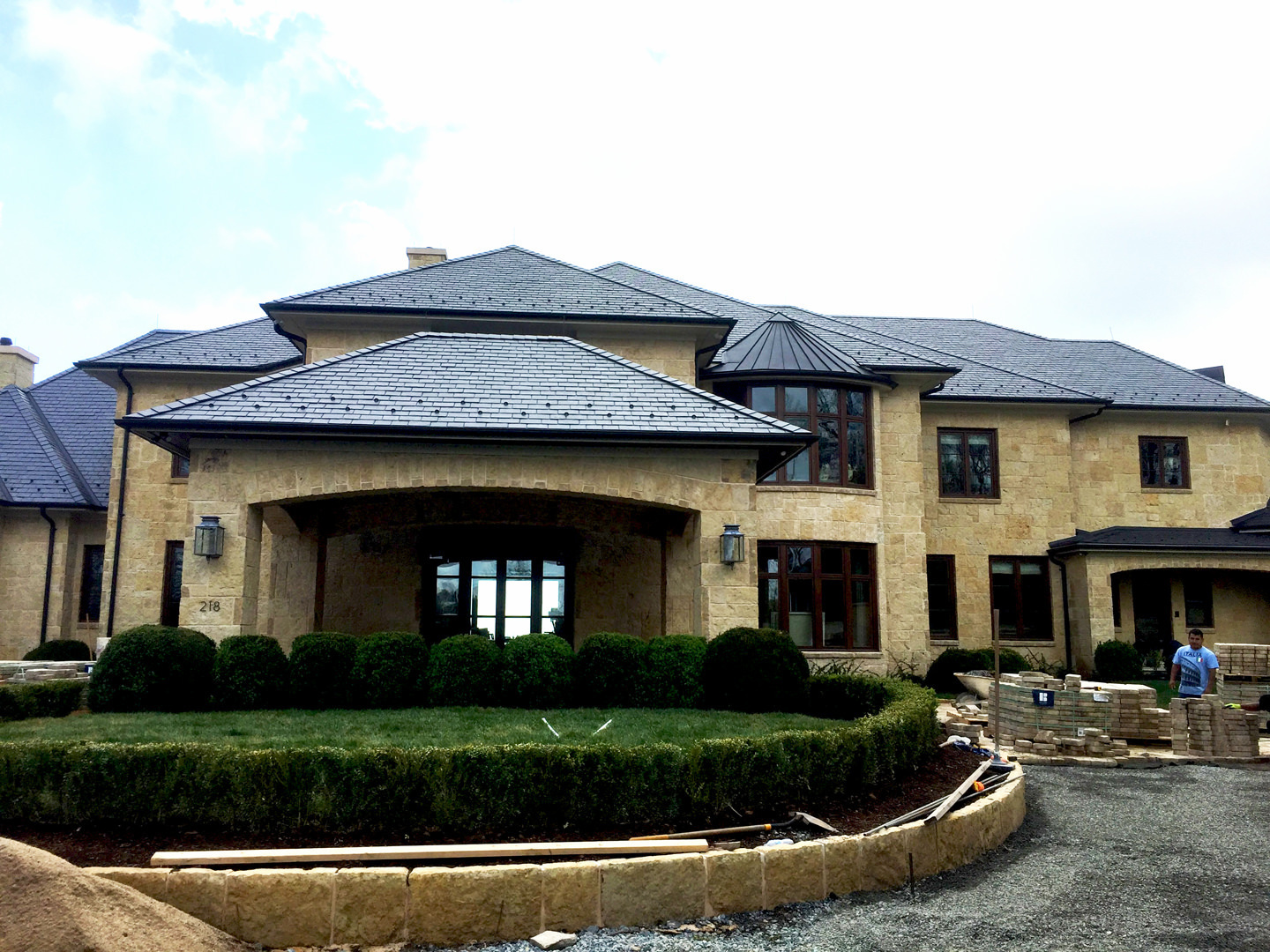Unfading Spanish black slate roof with black zinc flashings and gutters