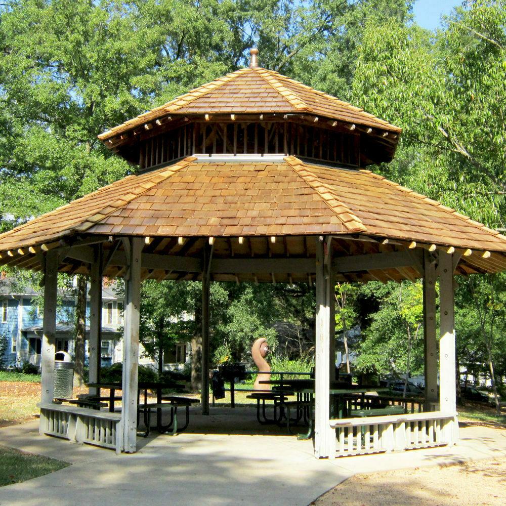 Red western cedar shake gazebo roof - featured